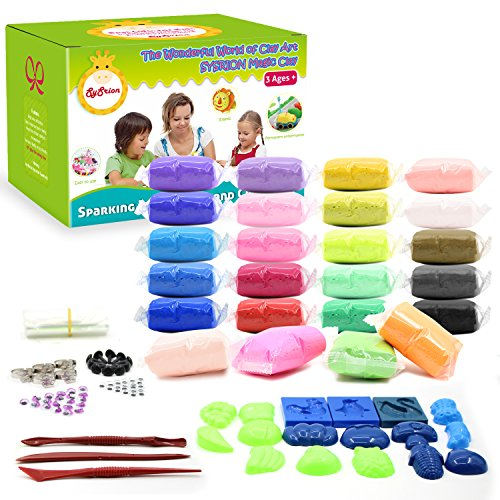 SySrion Air Dry Clay, 24 Colors Ultra Light Modeling Clay Magic Crafts Kit with Vegetables and Fruits Modes (Clay Charm)