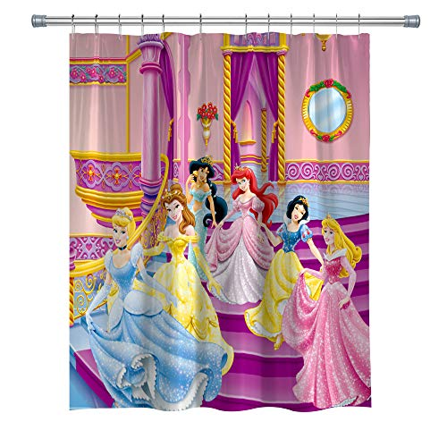 (GOODCARE Princess Shower Curtain, Snow White Cinderella Aurora Ariel Belle Jasmine 12 Free Hooks, Polyester Fabric, 71 x 71 inches)