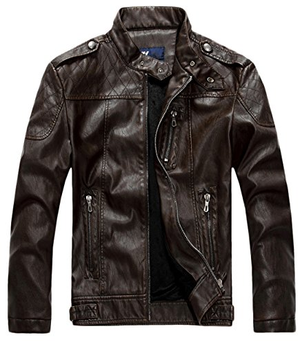 - chouyatou Men's Vintage Stand Collar Pu Leather Jacket (Small, HZQM109-Coffee)