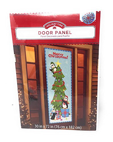 Christmas Holiday Door Panel Cover ~ 3 Penguins Decorating Christmas Tree ~ Measures 30 x 72