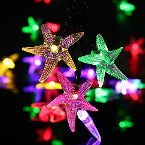 Icicle Starfish Solar String Lights, 20Ft 30 LED Fairy Christmas Lighting for Indoor/Outdoor Home, Patio, Lawn, Garden,Beach, Party and Seasonal Holiday (Multi Color)