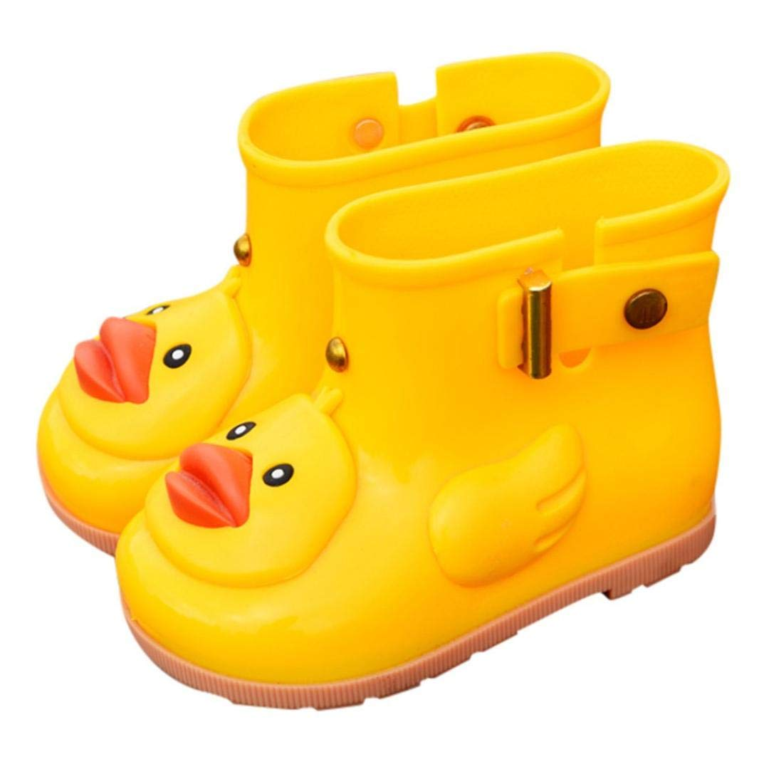 Clearance Toddler Kids Baby Anti-Slip Rain Shoes Durable Rubber Waterproof Boots Cartoon Duck Water Shoes (Yellow, US:10.5(Age:6-7T))