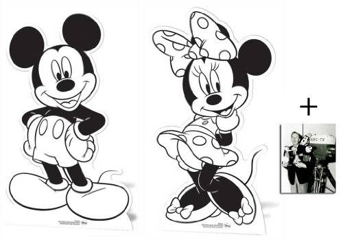 Fan Pack - Mickey Mouse and Minnie Mouse Set of 2 Colour and Keep Cardboard Cutouts / Standups / Standees - Includes 8x10 (20x25cm) Star Photo