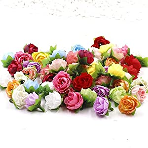 Artificial Flowers 50pcs 2.5cm Silk Flower Roses Small Tea Bud Flowers Hand Made Diy Head Garlands party festival Decor Wedding Home Decoration 87