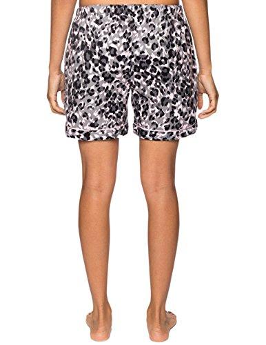 Noble Mount Shorts Pijama de Franela de Algodón para Mujer - 2 Pack Leopardo-Puntos Rosa