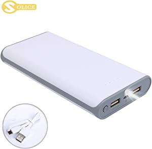 SOLICE® 20000mAh Dual USB Output Portable Charger External Cell Phone Battery Pack Power Bank with LED Light for iPhone, iPad & Samsung Galaxy & More (Gray)