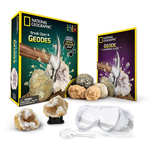 NATIONAL GEOGRAPHIC Break Open 4 Geodes Science Kit - Includes Goggles, Detailed Learning Guide and Display Stand - Great STEM Science gift for Mineralogy and Geology enthusiasts of any age