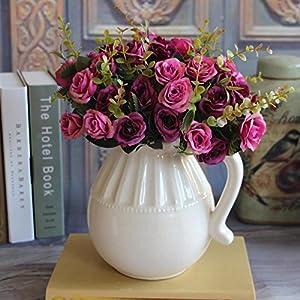 MingXiao European Artificial Rose Leaf Flowers Bouquet Home Decor Decal Purple 14