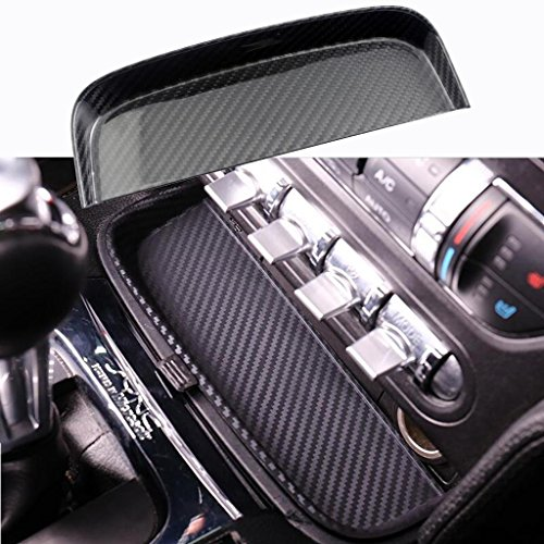 (x xotic tech Real Carbon Fiber Change Coin Tray Box for Ford Mustang S550 GT V6 2015-2017)