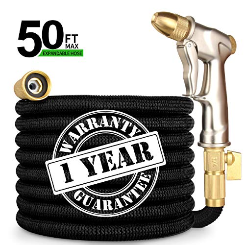 50FT Garden Hose Expandable Water Hose with Double Latex Core 3/4″ Solid Brass Fittings Flexible Expanding Water Hose with Metal 9 Function Spray Garden Hose Nozzle for Outdoor Lawn Car Watering