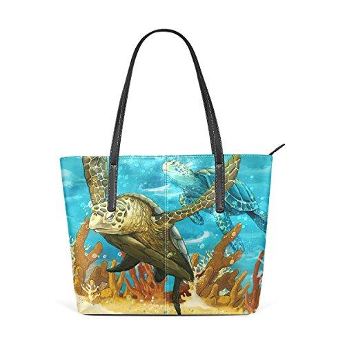 COOSUN Tortugas de mar de la PU de cuero bolso monedero y bolsos de la bolsa de asas para las mujeres Medio muticolour