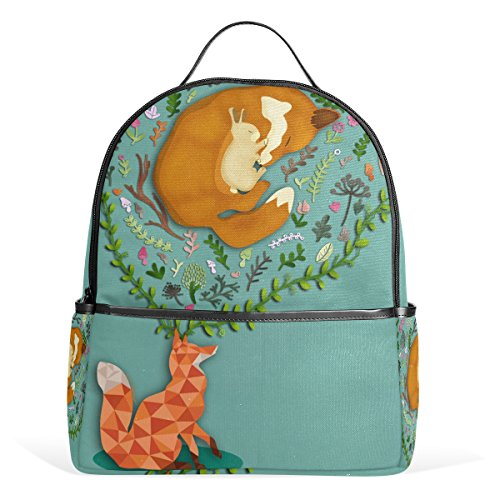 ZOEO College Bookbag Turquoise Fox And Rabbit Geometric Designer Backpacks Cool for Teen Boys Girls