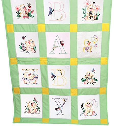 Fairway 92378 Baby Quilt Block, Duck Design, Twelve Blocks, White