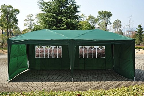 Outsunny 10' x 20' Easy Pop Up Canopy Party Tent with 4 Removable Sidewalls - Green