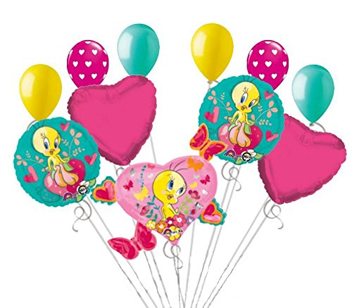 (11 pc Tweety Heart Butterflies & Strawberry Balloon Bouquet Party Happy Birthday)