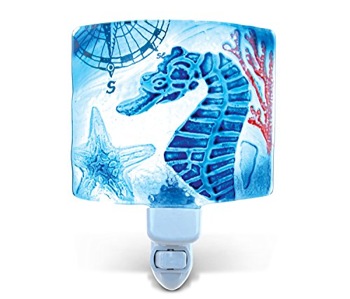 Puzzled Sea Horse LED Night Light, Glass Art Plug in Energy Efficient Decorative Socket Lamp Manual On & Off Portable Lights for Stairway Bedroom Bathroom Nursery Kids Accessory Home & Kitchen Decor
