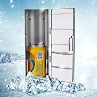 USB Mini Fridge,Compact Refrigerator With Cooling and Heat Function Beverage Drink Cans Cosmetic Cooler, Portable Thermoelectric System for Office Desktop PC Car (Gray) 4.92 x 3.35 x 9.84