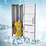 hot and cold refrigerator - USB Mini Fridge,Compact Refrigerator With Cooling and Heat Function Beverage Drink Cans Cosmetic Cooler, Portable Thermoelectric System for Office Desktop PC Car (Gray) 4.92