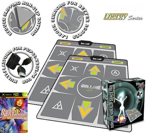 (2 x DDR Multi-Platform Super Sensors Energy Nonslip Dance Pad (PS, PS2, XBox, PC, Mac) with DDR Game Ultramix 2 (XBOX))