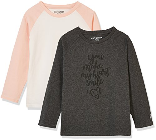 Kid Nation Kid's 2 Pack Long Sleeve Raglan T-Shirts with Solid Color Block Raglan for Boys Girls M Charcoal Gray Heather+Shell Pink/White ()