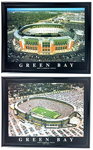 Framed Lambeau Field Green - Green Bay Packer Old and New Lambeau Field Stadium Print Set of 2 Framed LL6012