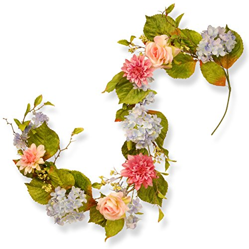 National Tree 70 Inch Floral Garland with Hydrangeas, Roses and Dahlia Flowers (RAS-HYX0524-1)