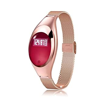 ZCY Mujer Moda Reloj Inteligente Bluetooth Movimiento Pulsera Ritmo Cardiaco Monitor GPS Actividad Rastreo Reloj (Color : Red): Amazon.es: Electrónica