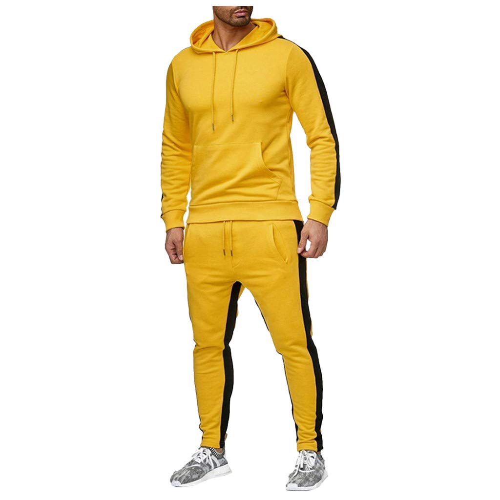 Mens Tracksuit Set Sports Gym Training Suits Sportswear Sets Warm Up Tracksuit Sports Set with Pocket(Yellow, L) by EINCcm