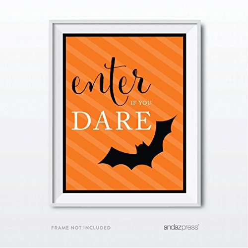 Andaz Press Classic Black and Orange Halloween Party Collection, Enter if You Dare Party Sign, 8.5 x 11-inch, 1-Pack