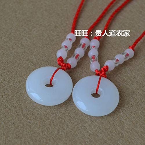 (glass guanyin buddha necklace pendant chain men women couple red string style imitation jade wholesale gift (white ping buckle +12 bead wire for a single good)