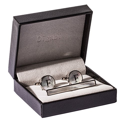 Digabi Platinum Plated 18K Rectangular Mother of Pearl Tie Clip and Initial Letter Cufflinks Set with Nice Box (Silver F) Nice Silver Plated