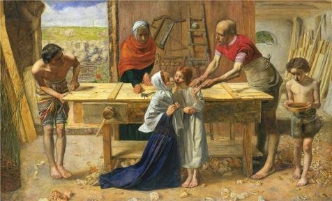 Oil Painting 'John Everett Millais - Christ In The House Of His Parents (`The Carpenter' s Shop' 20 x 33 inch / 51 x 84 cm, on High Definition HD canvas prints, Basement, Home Office, Kitchen decor
