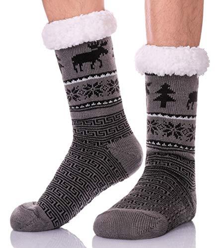 ZaYang Mens Christmas Deer Slipper Socks Thick Fleece-Lined Fuzzy Winter Warm Socks With Grippers (Dark Gray) (Men Sherpa Socks)