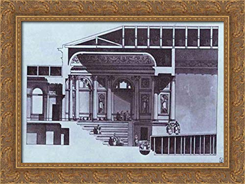 Design of The Hermitage Theater in St. Petersburg (Section) 24x18 Gold Ornate Wood Framed Canvas Art by Giacomo Quarenghi (St Petersburg Galleria)