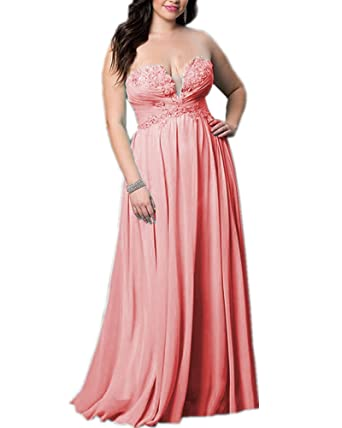 Olivias Beaded Appliques Strapless Corset Prom Dresses Long Coral Bridesmaid Dresses Cheap 14 Coral