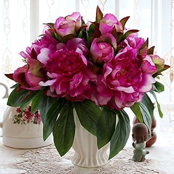 T Continental emulación rosa Artificial flores maceta de plástico adornos Sala de estar mesa de comedor muebles, brillante amarillo Durian botella + 2 ...
