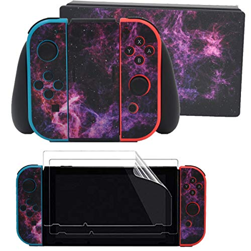 Taifond Decals Stickers Set Faceplate Skin +2Pcs Screen Protector for Nintendo Switch Console & Joy-Con Controller & Dock Protection Kit (Purple Sky)