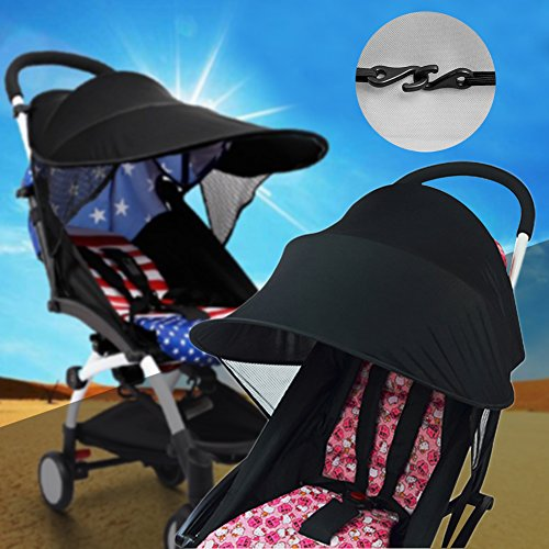 Compact Stroller Sunshade - Junda Stroller Cover Sun Easy Fit Universal Stroller Canopy Extender Large and Compact Sun Shade in Black
