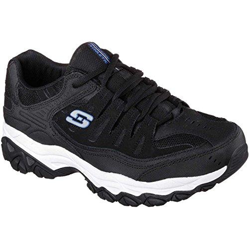 Skechers Sport Men's Afterburn Memory Foam Lace-Up Sneaker, Black/Royal, 9 M US