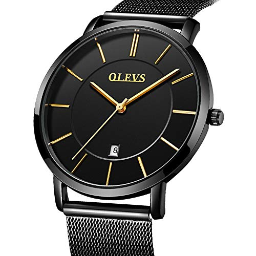 Black Mesh Bracelet - Stainless Steel Slim Men Watch Quartz Watch Black Face,Minimalist Waterproof Mens Thin Watches with Mesh Band,Men Watches Casual Steel Bracelet Adjustable,Simple Wrist Watch Men with Date