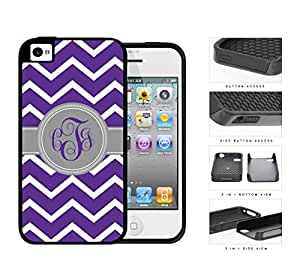 Purple And White Chevron With Gray Monogram (Custom Initials) 2-Piece Dual Layer High Impact Rubber Silicone Cell Phone Case Apple iPhone 4 4s
