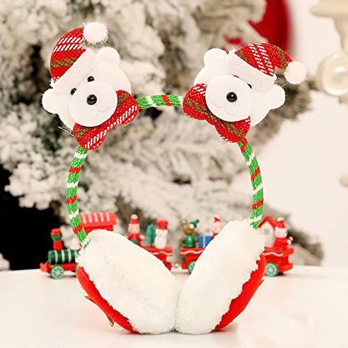 (Hot Sale!DEESEE(TM)Christmas Santa Snowman Deer Bear Earmuffs Headband Ear Warmers Kid Adult GIFT (B))