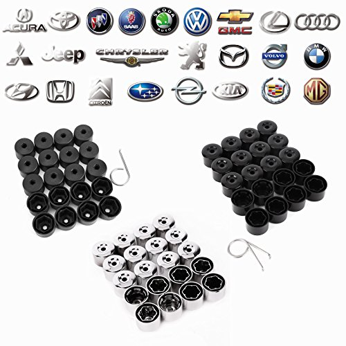 Surepromise 17mm Black Plastic Wheel Nut Bolt Caps Covers Replacement Repair for Volkswagen Golf, Bora, Passat, Jetta, Seat VW Pack of (Chrome Hex Bolt Cover)