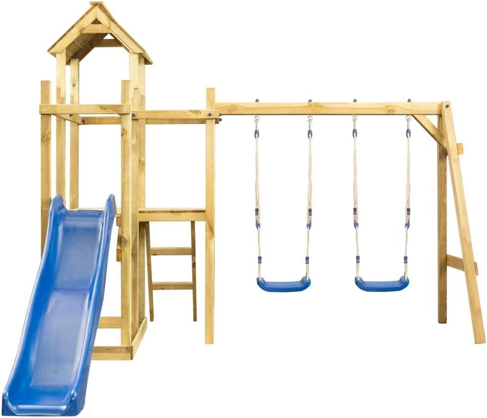 Tidyard Parque Infantil tobogán, Columpios y Escalera 285x305x226,5 cm,Parque Infantil de Madera MultiFlyer con Columpio y tobogán Verde, Torre de Escalada de Exterior con Techo
