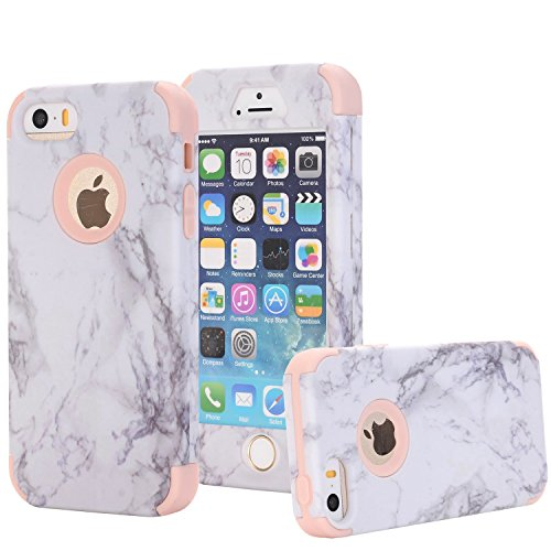 iPhone 5/5S/SE Case, Arukas Marble Design Ultra Slim Scratch Resistant Hybrid Hard PC Back Cover Soft Silicone Bumper Shockproof Protective Case for iPhone 5/5S/SE (4.0 Inch) (marble rose gold) (Best Protective Case For Iphone 5s Gold)