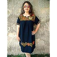 Vestido Casual Mexicano Negro Bordado Floral para Dama Plus Size