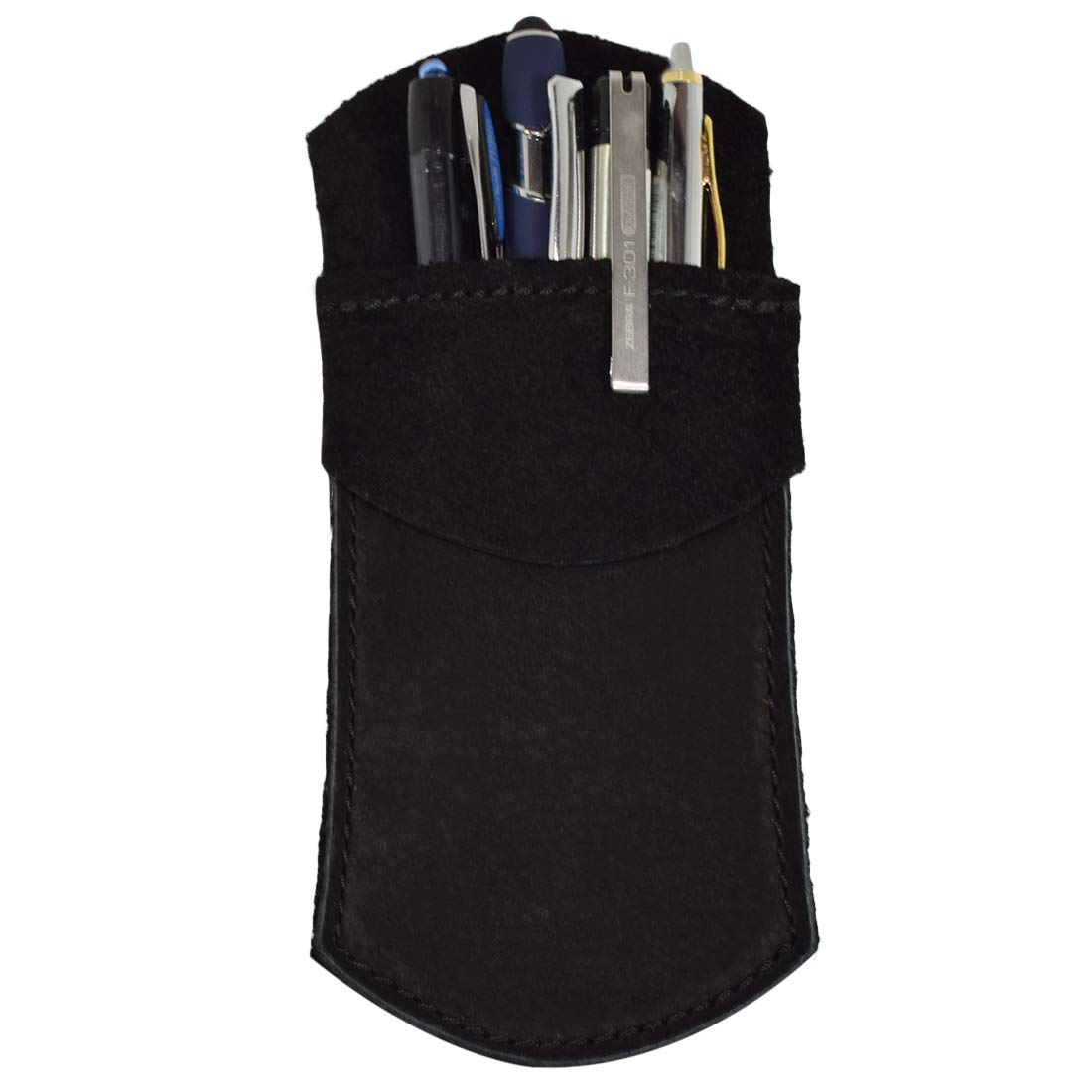 Durable Leather Pocket Protector/Pencil Pouch/Office & Work Essentials Pen Holder :: Charcoal Suede