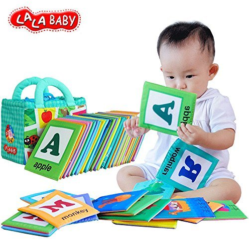 LALABABY 26 Letters Cloth Card with Cloth Bag Early Education Toy for Over 0 Years (Gift Ideas For 8 Month Old Girl)