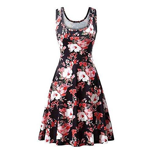 Alimao 2019 Dress Women Sleeveless Ladies Beach Dress Fashion PrintedTunic Tank Dress Red