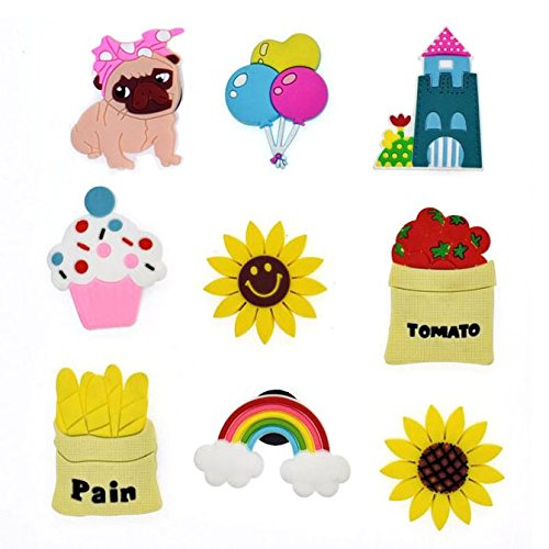 French Fries Cute Cartoon House Puppy Stereo Fridge Magnets for Kids Activity Home Decoration a Set of 9 Pieces Flowers